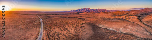 Wide aerial panorama of Flinders Ranges at sunset