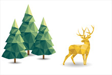 Low Poly Christmas Scene With Reindeer And Pines.