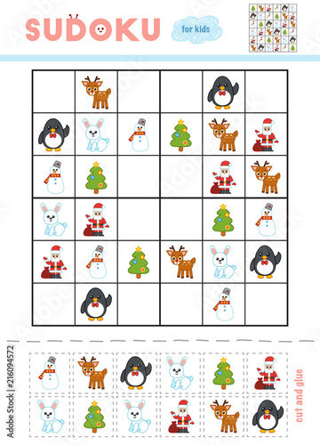Christmas Sudoku.Sudoku For Children Education Game Cartoon Christmas Items