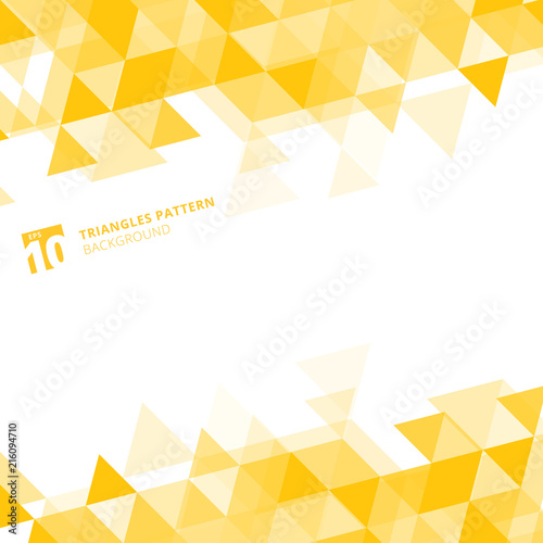 Obraz Abstract yellow triangles geometric on white background. - fototapety do salonu