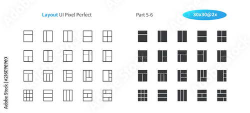 Layout UI Pixel Perfect Well-crafted Vector Thin Line And Solid Icons 30 2x Grid for Web Graphics and Apps Canvas Print