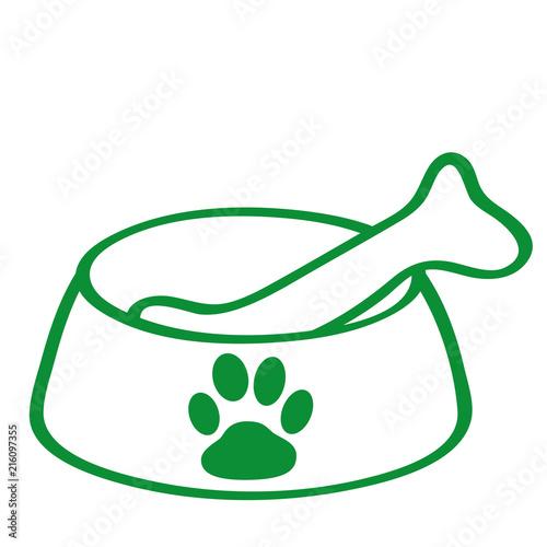 Fotografie, Obraz  Handgezeichneter Hundenapf in grün