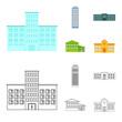 Skyscraper, police, hotel, school.Building set collection icons in cartoon,outline style vector symbol stock illustration web.