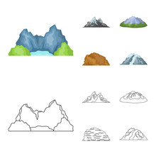 Mountains In The Desert, A Snowy Peak, An Island With A Glacier, A Snow-capped Mountain. Different Mountains Set Collection Icons In Cartoon,outline Style Vector Symbol Stock Illustration Web.
