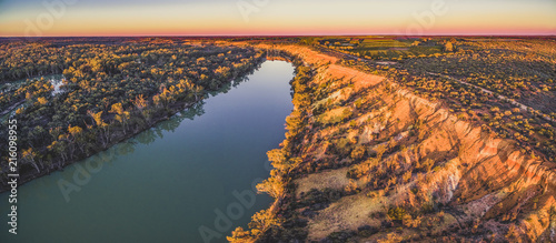 Keuken foto achterwand Turkoois Aerial panoramic landscape of Murray River in Riverland region of South Australia at sunset