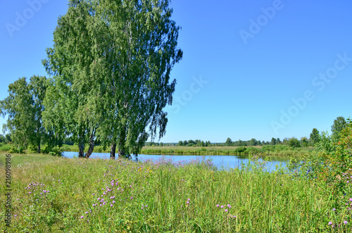 Staande foto Pistache Beautiful landscape the blue lake among the wood in Russia Siberia