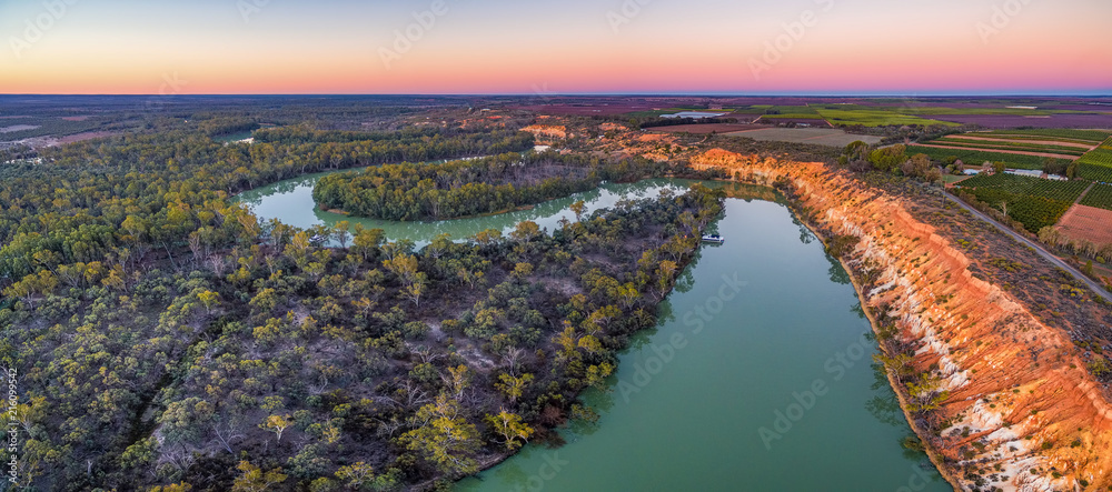 Fototapety, obrazy: Aerial panoramic landscape of eroding sandstone shores of Murray RIver at dusk