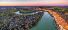 Aerial Panoramic Landscape Of Eroding Sandstone Shores Of Murray RIver At Dusk