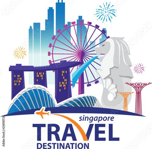 Fototapeta premium Singapur podróży zabytki. Grafika wektorowa i ilustracje.