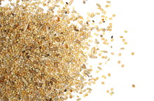 Mixed Bird Seed, Millet Pile Isolated On White Background, Top View