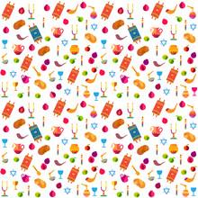 Rosh Hashanah Pattern Jewish  New Year - Shana Tova, Traditional Symbols Isolated. Honey And Apple, Shofar, Pomegranate, Torah Icons Set. Rosh Hashana, Sukkot Festival Israel Holiday Background
