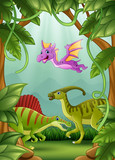 Fototapeta Dinusie - Happy dinosaurs living in the jungle