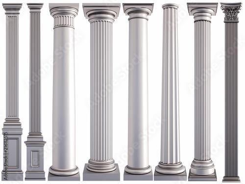 Fototapeta Metal columns on a white background. Isolated obraz na płótnie