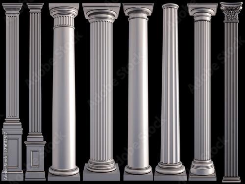 Fototapeta Metal columns on a black background. Isolated obraz na płótnie
