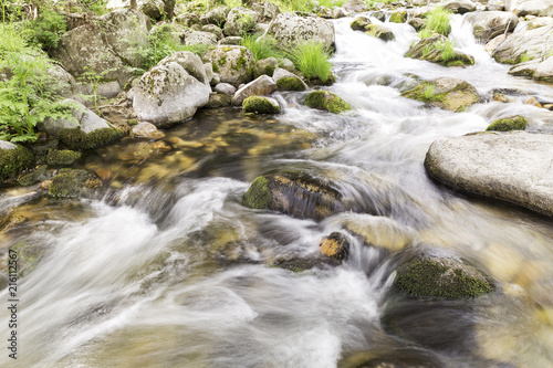 Foto op Plexiglas Rivier water running down rapids of a river with stones photographed at low speed to give silk effect