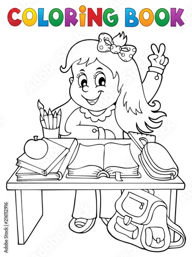 Foto op Plexiglas Voor kinderen Coloring book girl behind school desk
