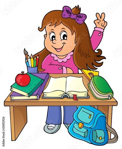 Poster Voor kinderen Girl behind school desk theme image 1