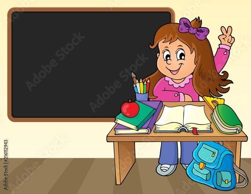 Foto op Plexiglas Voor kinderen Girl behind school desk theme image 2