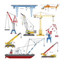 Crane Vector Tower-crane And Industrial Building Equipment Or Constructiontechnics Illustration Set Of High Gantry Or Portal-crane Isolated On White Background