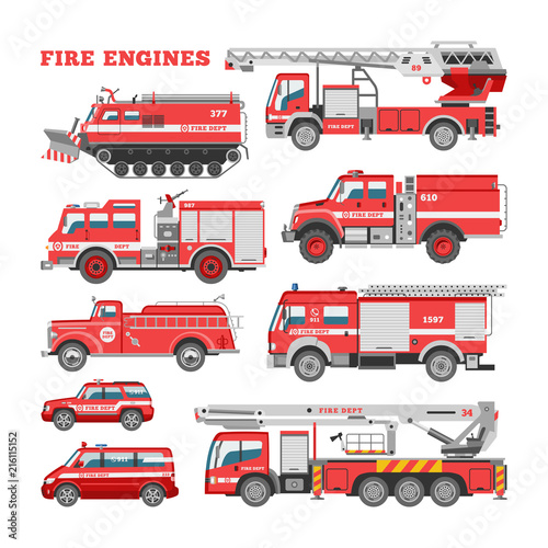 Photo Fire engine vector firefighting emergency vehicle or red firetruck with firehose