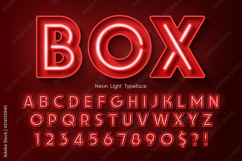 Fototapety, obrazy: Neon light 3d alphabet, extra glowing font.
