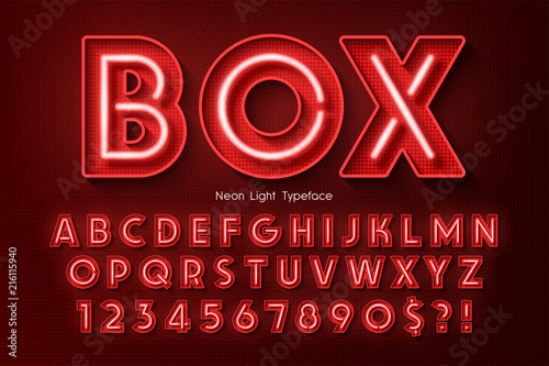 Photographie  Neon light 3d alphabet, extra glowing font.