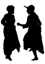 Women Dancing Folk Dutch Dances On White Background
