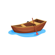 Wooden Fishing Boat Vector Ill...