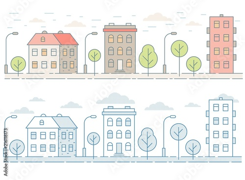 Colored seamless cityscape with houses, trees Canvas Print