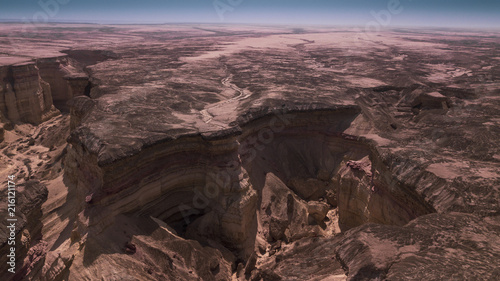 Aerial view of the canyons of the Namib Desert. Africa. Angola.