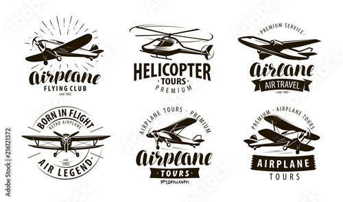 Aircraft, airplane, helicopter logo or icon Wallpaper Mural