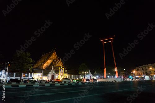 Photo  Sao Chingcha at night, Attractions in Bangkok Thailand.