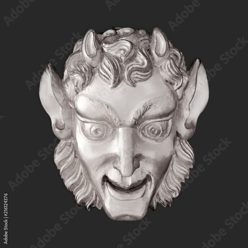 Fotografie, Obraz Silver mask in the form of an ancient deity Satyr (decorative decoration of the State Palace-Museum Pavlovsk, St