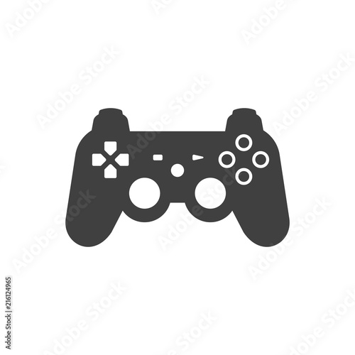 Video Game Joystick Icon Silhouette Black Isolated On White