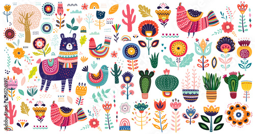 Foto Big vector collection with cute Llama, cacti and flowers.