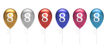 Number 8 Birthday Balloons Collection Gold, Silver, Red, Blue, Pink. 3D Rendering