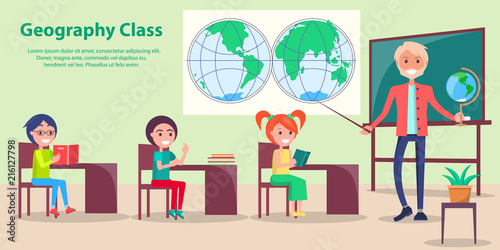 Fotografia  Geography Class at School Vector Illustration
