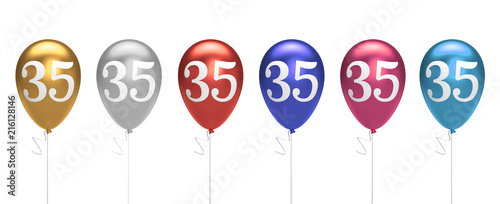 Number 35 Birthday Balloons Collection Gold Silver Red Blue Pink 3D