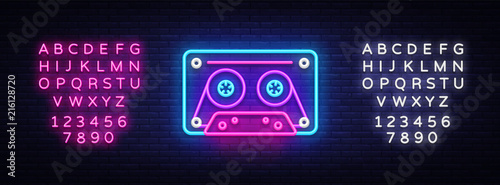 Fototapeta Cassetts for tape recorder neon sign vector