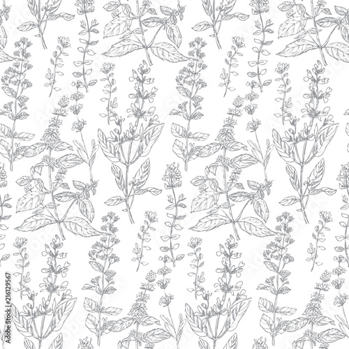Hand drawn herbal sketch seamless pattern for background, wrapping paper, fabric, surface design Canvas-taulu