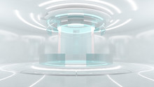 Futuristic White Illustration And Cyber Punk Sci-fi Style And Glass Digital Wall 3d Rendering