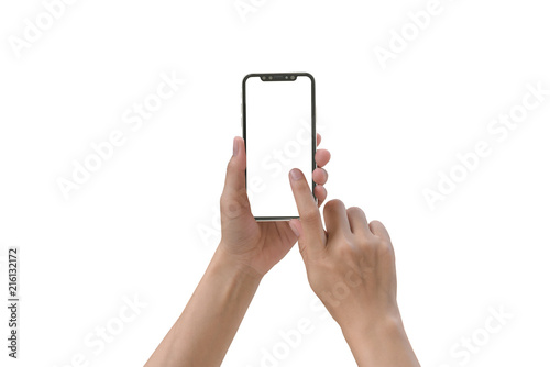 Fotografía  Smartphone in female hands taking photo isolated on white blackground