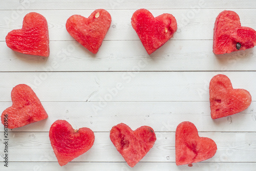 Hearts carved out of watermelon. Concept of Valentine's day Copy space