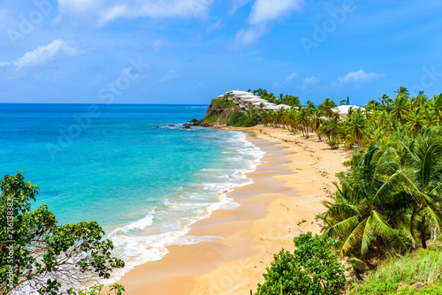 Paradise beach at Morris Bay, Tropical caribbean island Antigua Wallpaper Mural