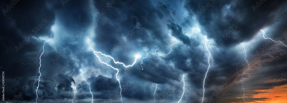 Fototapety, obrazy: Lightning thunderstorm flash over the night sky. Concept on topic weather, cataclysms (hurricane, Typhoon, tornado, storm)