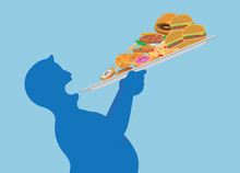 Fat Man Try To Devour All Junk Food In One Time With Lifting A Tray. Illustration About Overeating.