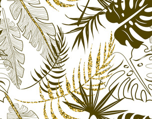 FototapetaKhaki seamless floral pattern with leaves on white.