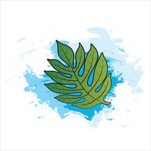 Breadfruit Leaf Over Blue Paint Brush Strokes Vector Illustration