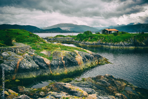 Fotobehang Groen blauw Beautiful landscape on the coast of famous Atlantic Ocean Road - Atlanterhavsveien , More og Romsdal county, Norway.