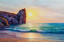 Sunset On The Sea, Painting By...